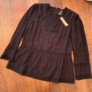 NWT J. Crew Point Sur Lacey Top in Black